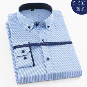 Image 5 - בתוספת גודל 8XL גברים חולצה ארוך שרוול מוצק פסים חולצות גברים שמלת גדול 7XL 6XL לבן חברתי חולצות גברים בגדים streetwear