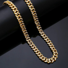 Punk Necklace Chain Hip Hop Big Chunky Aluminum Golden Jewelry Rhinestone Choker for Men Rapper Necklaces Women Jewelry(China)