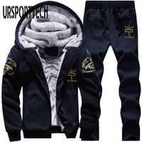 URSPORTTECH Tracksuit Men Fleece Thick Hooded Casual Track Suit Men Jacket+Pant Two Piece Set Warm Fur Inside Winter Sweatshirt
