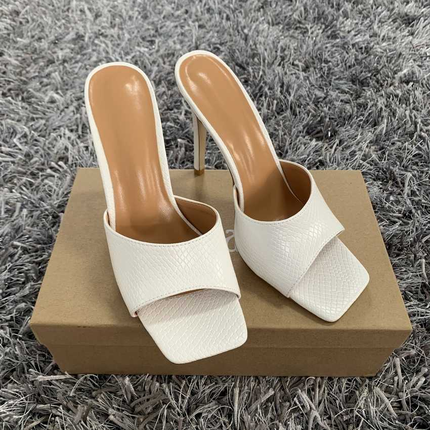 2020 yaz kadın pompaları kare ayak bayanlar topuk katır seksi ince yüksek topuklu sandalet terlik kadın moda kadın ayakkabı 11CM