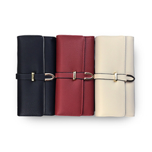 Wallets Women Clutch Bags Female Wristlets  Money Card Holder Coin Purse Solid phone PU Leather Buckle long Wallets Fashion pink