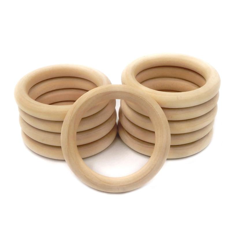 5 шт., детские деревянные кольца для прорезывания зубов, 55 мм/70 мм