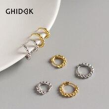 GHIDBK 925 Sterling Silver Small Beads Hoop Earrings Minimalist Gold Silver Beaded Aros Elegant Geom