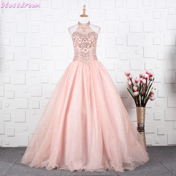 amzbarley girls dresses prom ball gown kids lace tulle wedding party dresses girls pageant formal dress 5 14 years Pink Ball Gown Quinceanera Dresses 2021 Tulle Vestido De 15 Fluffy Dresses Beading Crystal Elegant Long Formal Party Prom Dress