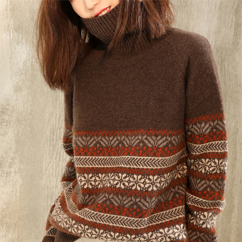 Winter New Retro Jacquard Cashmere Sweater Female Turtleneck Sweater Color Matching Striped Loose Sweater Bottoming Sweater