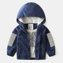New spring boys Jacket For Children Windproof Baby Boy Clothes Outerwear Windbreaker Reflective stitching Baby Kids Hooded Coats цена 2017