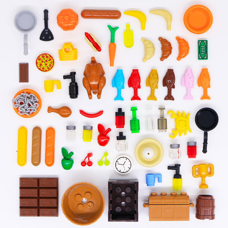 Compatible LegoINGly City Food Accessories Building Blocks Fish Bread Carrot Vegetables Fruits Kitchen Parts Friends Bricks Toys