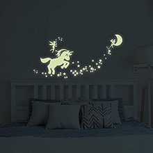 Unicorn Wall Decals Glow in The Dark Unicorn Stars Fairytale Fairy Wall Stickers for DIY Kids Girls Bedroom Home Nursery Room