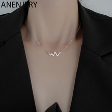 Anenjery amor curvas de batimento cardíaco colar para presente feminino prata cor zircon colar gargantilha ornamentos S-N06