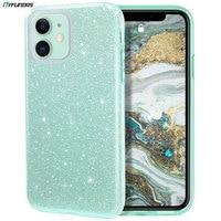 Glitter Telefon Fall Für iPhone 11 Pro Max 12 Mini X XR XS 8 Plus 7 SE 2020 iPhone11 Bling sparkly Luxus Hybrid Abdeckung Mint Grün