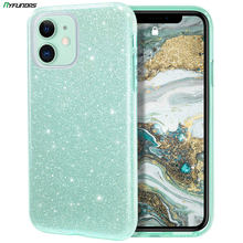 Glitter สำหรับ iPhone 11 PRO MAX X XR XS 8 PLUS 7 SE 2 2020 iPhone11 Bling Sparkly หรูหรา HYBRID ฝาครอบ Mint GREEN(China)