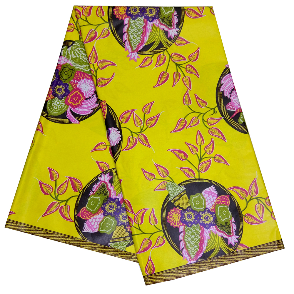 African Print Real Wax Fabric 6 Yards/Piece Africain Nigeira Ankara Wax Yellow Fabrics For Wedding Dress