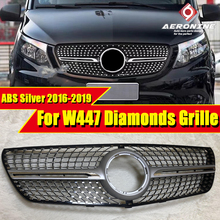 For MercedesMB W447 Sport grille grill vito Diamonds style ABS Silver without sign V class V260 V250 look Front grills 2016-19