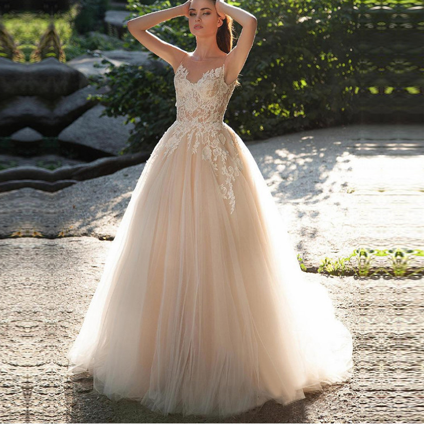 Champagne A-Line Wedding Dresses Lace Appliques Floor Length Vintage Bridal Gown Sleeveless Vestido De Noiva Custom Made