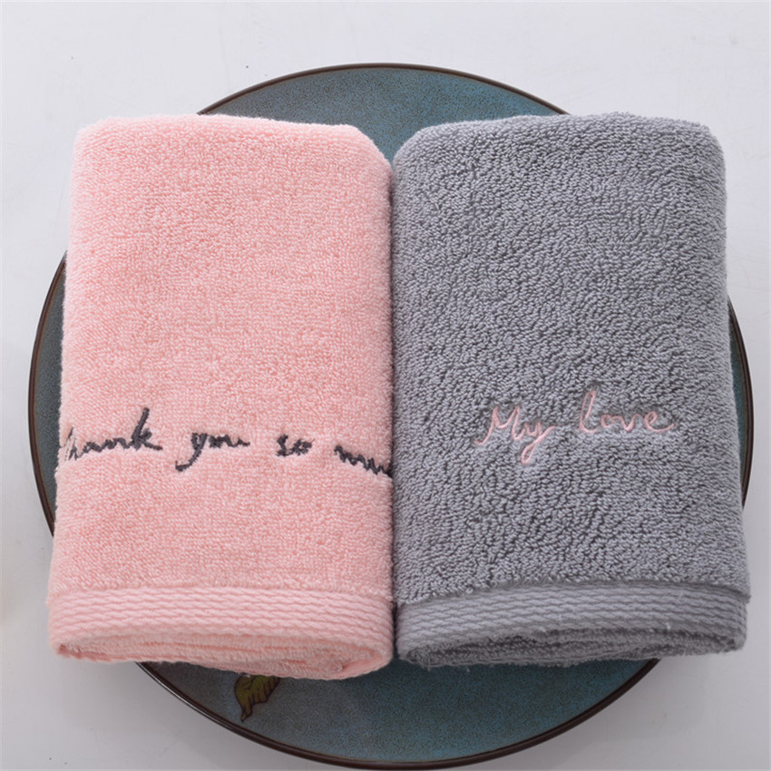ZHUO MO Egyptian Cotton Towels for Adults Sweet Letters soft Embroidered Bath Face Towel Bathroom Shower