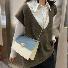 Simple Style Handbags For Women Pu Leather Shoulder Bag Chain Strap Female Crossbody Bag Retro Small Square Bag