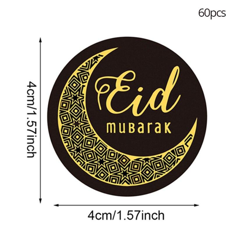 60pcs Eid Mubarak Paper Sticker Gift Lable Seal Stickers Ramadan Kareem Islamic Muslim Eid Party Gifts Decorations Eid Al Adha