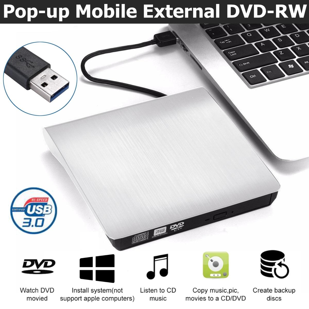 USB 3.0 External DVD-RW CD Burner Player Slim Optical Drive for PC Laptop