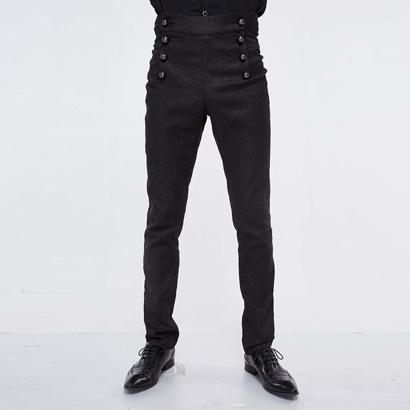 Devil Fashion Men's Goth High-waisted Double-breasted Jacquard Pants PT095