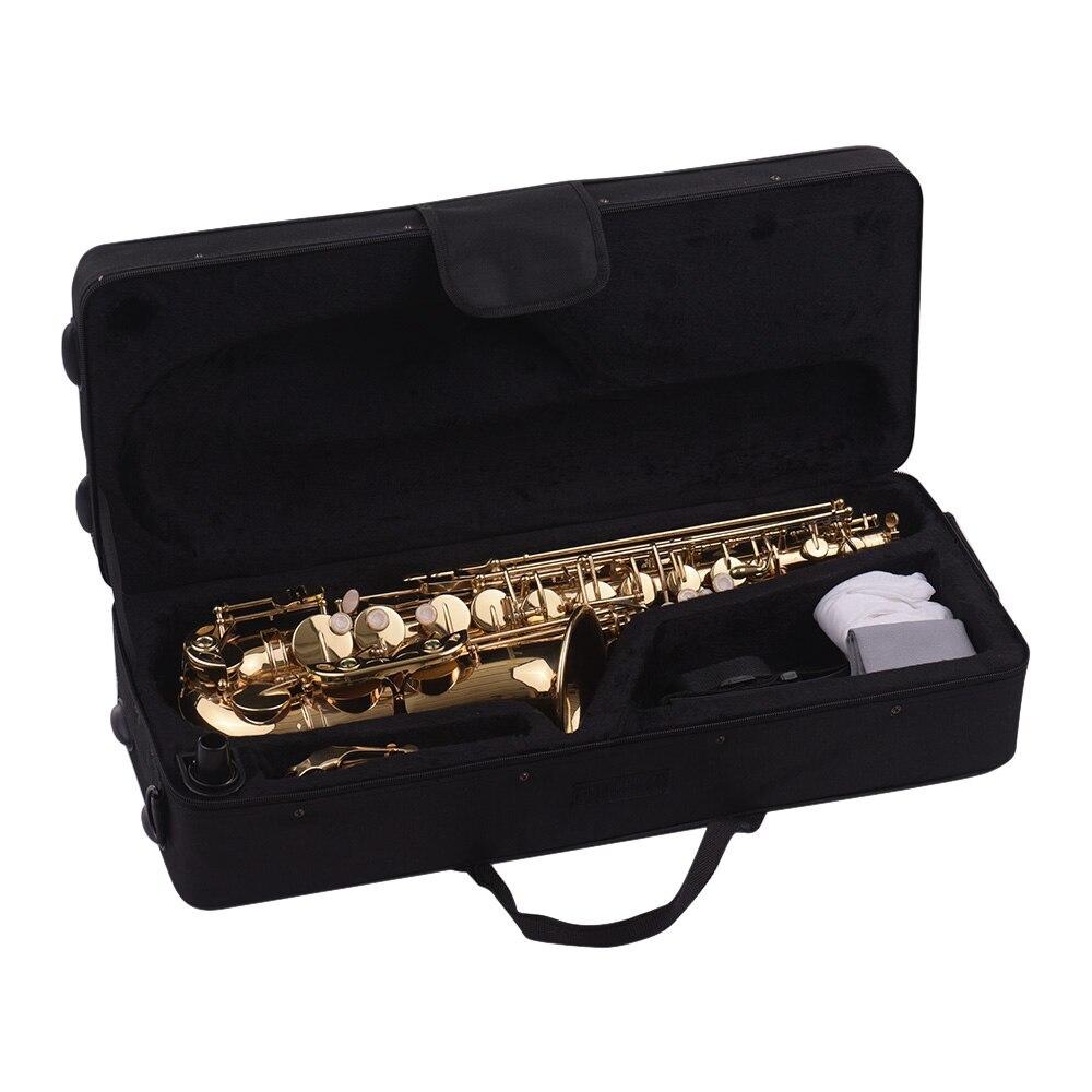 Muslady Eb Altsaxofoon Sax Messing Gelakt Goud 802 Type Sleutel Sax Muziekinstrumenten Met Gewatteerde Draagtas Handschoenen - 5