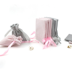 Image 5 - 50pcs Jewelry velvet Ribbon Drawstring Bag 8x10cm Personalized Packaging Chic Grey Pink Velvet Pouch for Wedding Favor Gift Bags