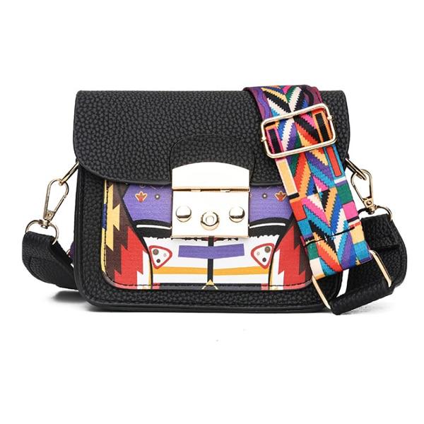 ACELURE Panelled Hard Pu Leather Women Shoulder Bag Colorful Wide Strap Crossbody Bags Fashion All-Match elegant Ladies Flap