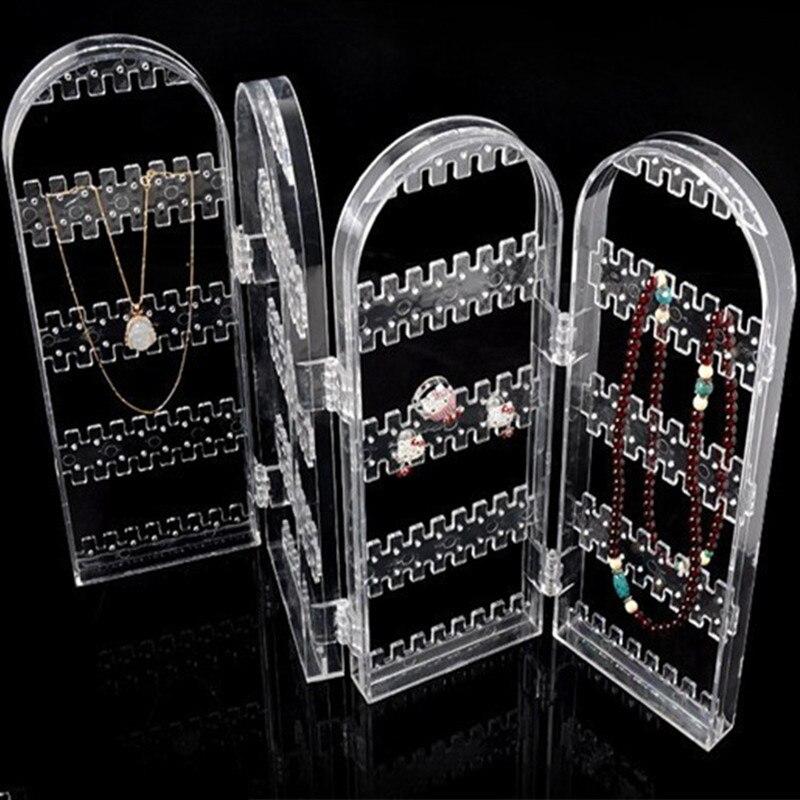 2017 New Arrival 4 Panels Jewelry Display Jewelry Organizer Earring Organizer Acrylic Jewelry Holder Makeup Jewelry Organizer