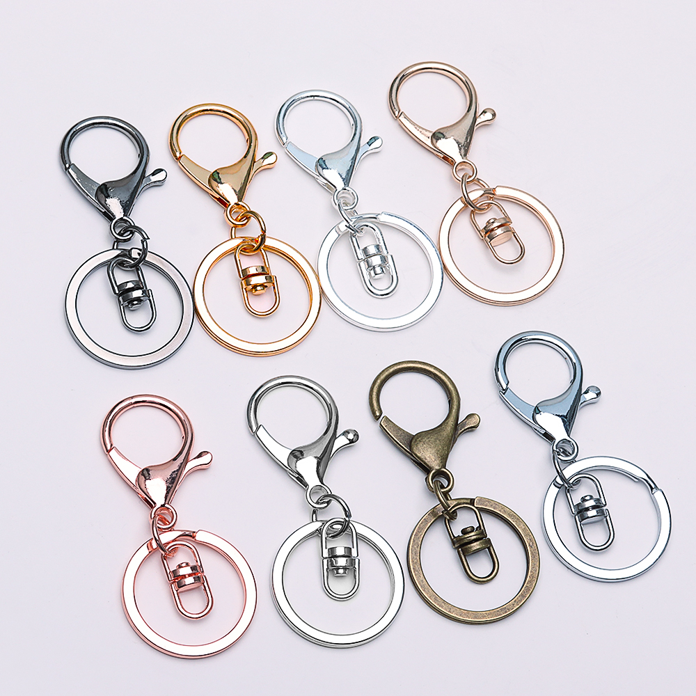 5pcs Key Ring lobster clasp key Hook With Chain 30mm Key Ring Long 70mm Split Key Ring Keychain For DIY Supplies Jewelry Making