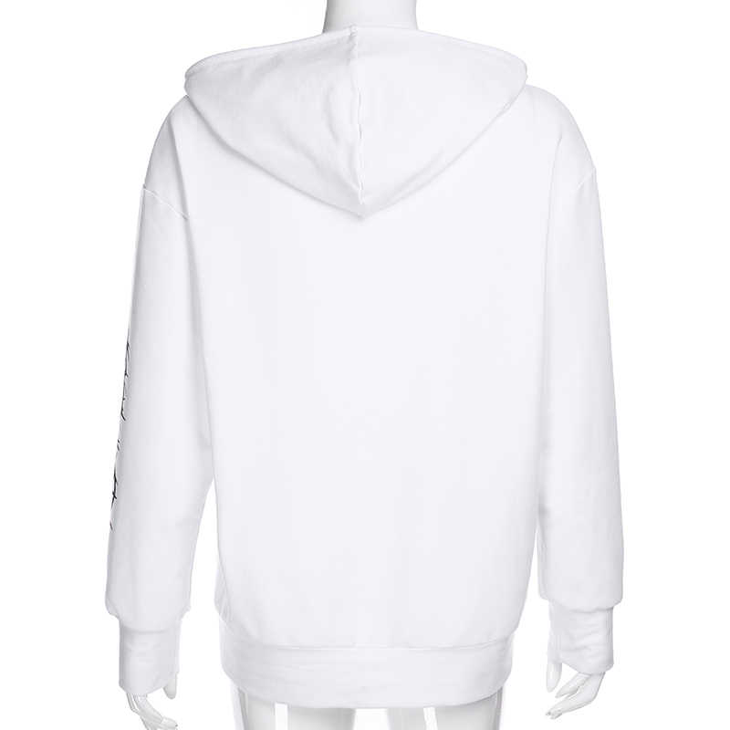 Weekeep 인쇄 후드 루즈 후드 여성 Streetwear 풀오버 긴 스웨터 봄 가을 패션 까마귀 여성 탑스