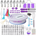 137 Pcs/set Cake Turntable Cake Decorating Tools Kit Rotary Table Baking Tool Piping Nozzle Piping Bag Set Baking Supplies Sets