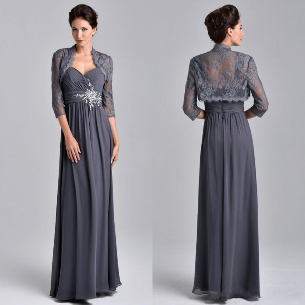 Stunning Mother's Dresses Beaded Chiffon A Line Evening Dress Floor Length With Lace Jacket Grey Mother Of The Bride Groom Dress