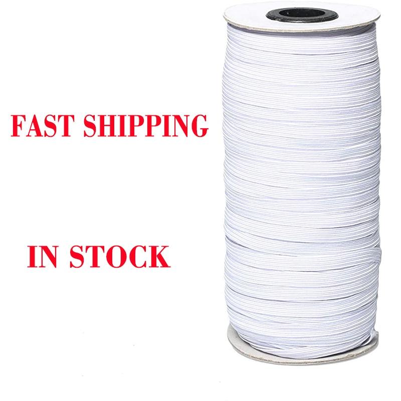 70/100/160 Yards Elastic Bands Elastic Rope 3/6mm Rubber Elastic Cord Band Garment Sewing Accessories White Elastic Rope