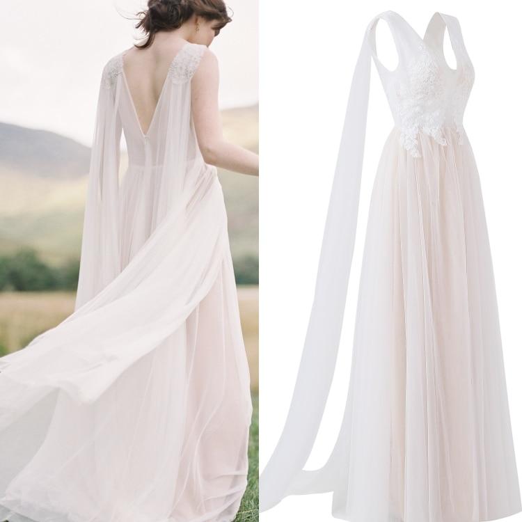 V-Neck Sleeveless Lace Boho  Beach Bridal Wedding Dress With Tippet 100% Real Sample Photo Factory Price