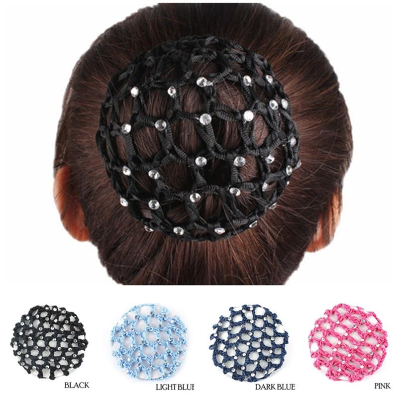 Womens Lady Bun Cover Hair Snood Ballet Dance Skating Crochet Hair Net Accessory