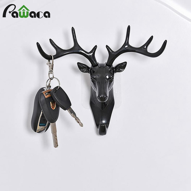 <font><b>Deer</b></font> Antler Wall Hook Hanging Coat <font><b>Deer</b></font> Rack Wall Hooks Heavy Duty Animal Decorative Wall Hooks For Kids Room Animal Key <font><b>Hangers</b></font> image