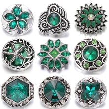 6pcs/lot New 18mm Snap Buttons Jewelry Rhinestone Mixed Green Fit Bracelet Necklace