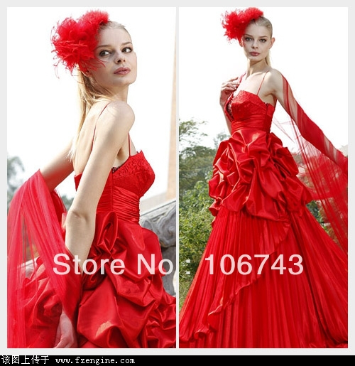 Free Shipping 2016 New Fashion Vestidos Crystal Beaded Formal Elegant Sexy Red Long Party Gown Wedding Dresses