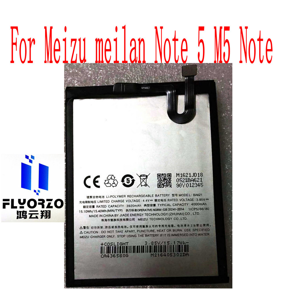 High Quality 4000mAh <font><b>BA621</b></font> Battery For <font><b>Meizu</b></font> meilan Note 5 M5 Note Mobile Phone image
