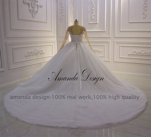 Image 5 - Amanda Design hochzeit Crystal Bling Bling Sparkle Wedding Dress with Sleeves