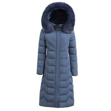 Women's Down Jacket Winter Fur Hooded Coat Long Thick Warm O
