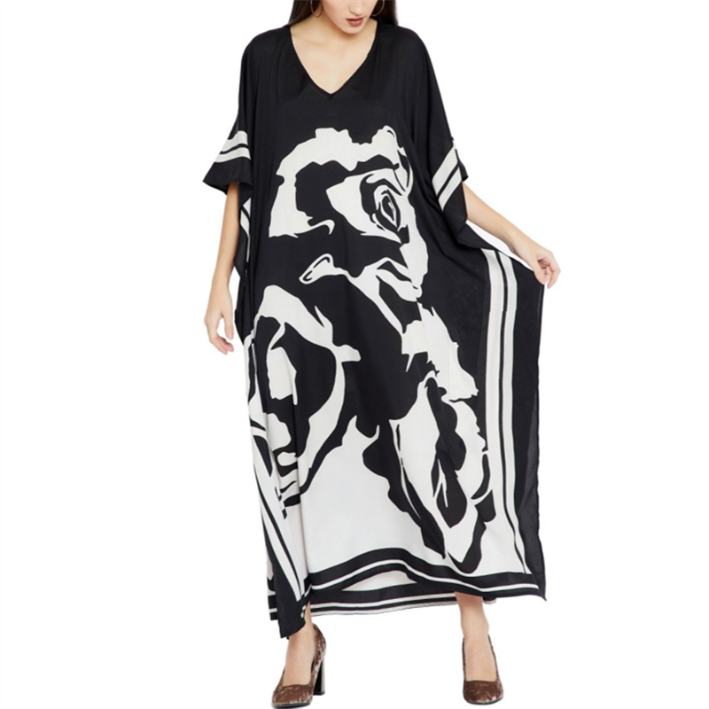 Image 4 - 2020 Plus size Beach Cover ups Bohemian Black Print V neck Long Dress Beach Tunic Women Sarong Beach Kaftan Swimsuit Cover UpCover-up   -