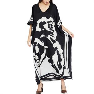 Image 4 - 2020 Plus size Beach Cover ups Bohemian Black Print V neck Long Dress Beach Tunic Women Sarong Beach Kaftan Swimsuit Cover Up