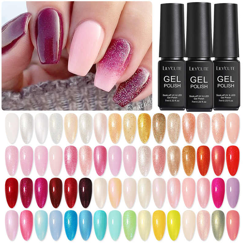 LILYCUTE 7ml vernis à ongles Gel vernis à ongles paillettes Semi Permanent tremper hors UV Gel vernis couleur brillante ongles Gel bricolage