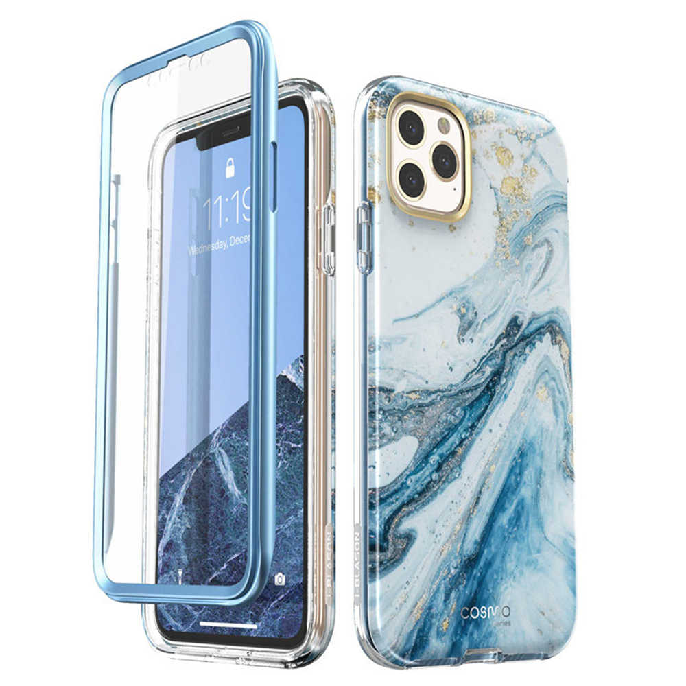 "Aku-Blason untuk iPhone 11 Pro Case 5.8 ""(2019) cosmo Full-Body Shinning Glitter Marmer Bumper Case dengan Built-In Screen Protector"