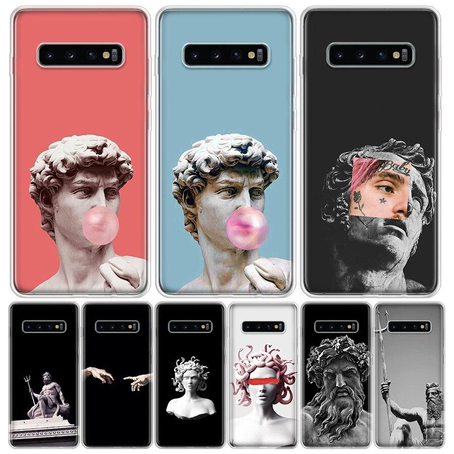 La mitología griega escultura de piedra teléfono funda para Samsung Galaxy S6 S7 S8 S9 S10 S20 Nota 8 9 10 J4 J6 J8 2018 Ultra Plus Lite FDGAO 10W cargador inalámbrico rápido para Samsung Galaxy S10 S9/S9 + S8 Nota 9 USB almohadilla de carga Qi para iPhone 11 Pro XS Max XR 8X8 Plus