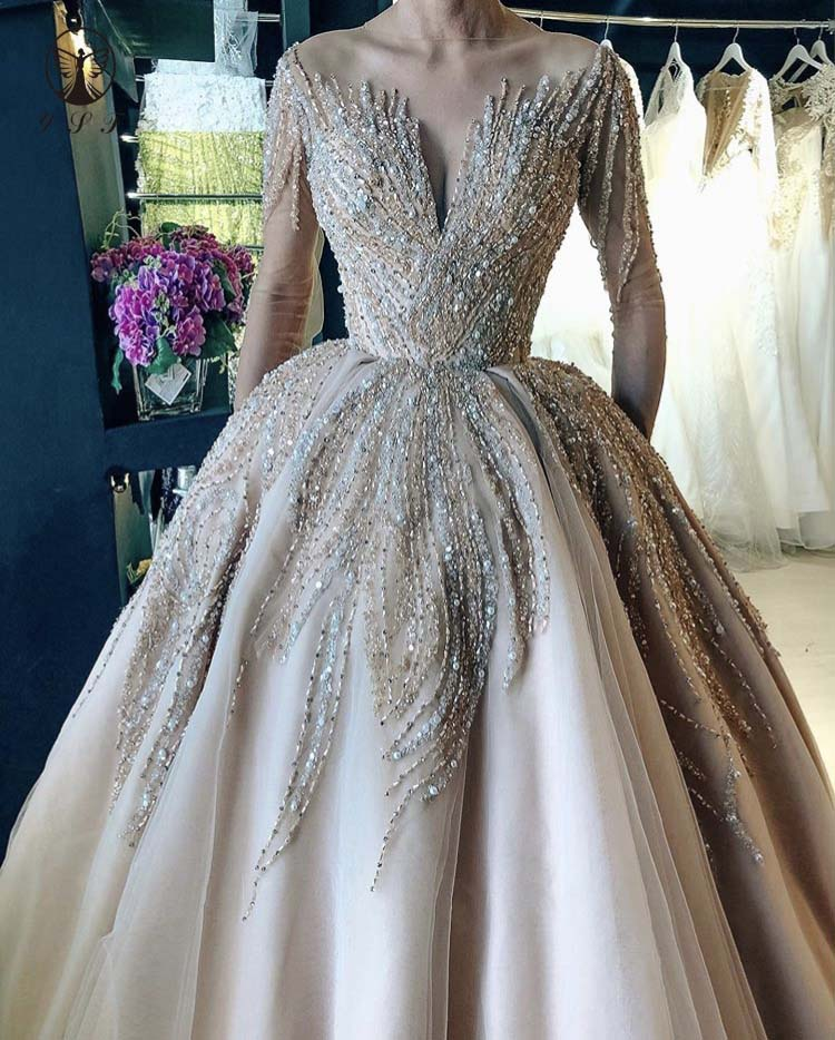 Elegant Wedding Dresses O Neck Beaded Heavily Long Sleeve Floor Length Bridal Gown 2020