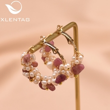 XlentAg Fresh Water White Pearl Hoop Earrings For Women Girl