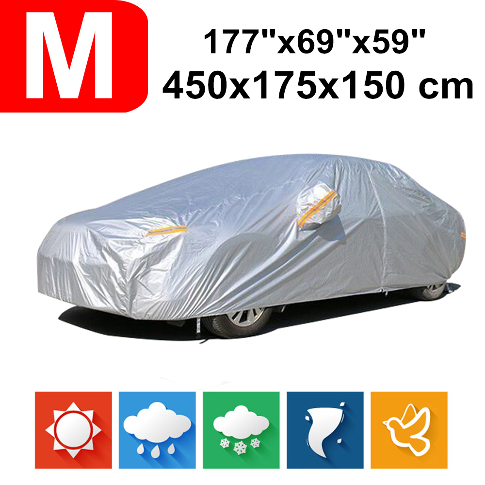 450x175x150 Universal Saloon Sedan 190T Waterproof Car Covers Dust Rain Snow UV Protection For Honda City Peugeot 206 207 Polo