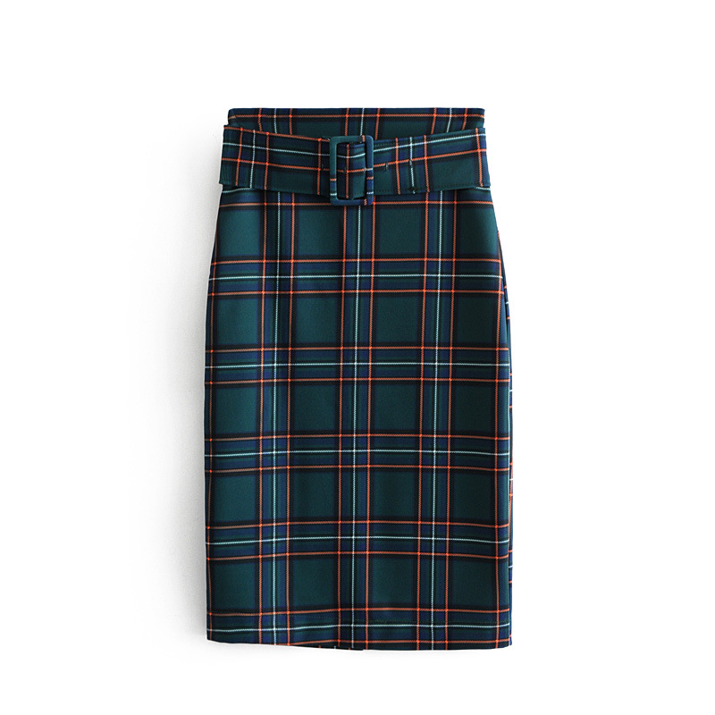 European and American style autumn and winter women's new thickening with zaraing belt plaid straight skirt