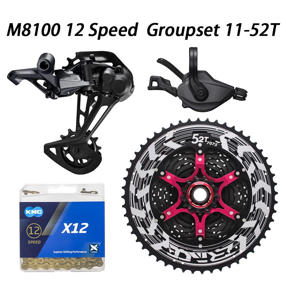 XT M8100 Groupset MTB Mountain Bike 12-Speed 52T SL+RD+ZRACE+X12 M8100 shifter Rear Derailleur
